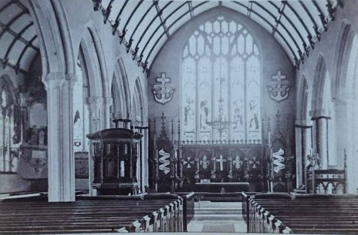 St. Mary Magdalene Church interior, c.1870. Photo by Henry Hayman