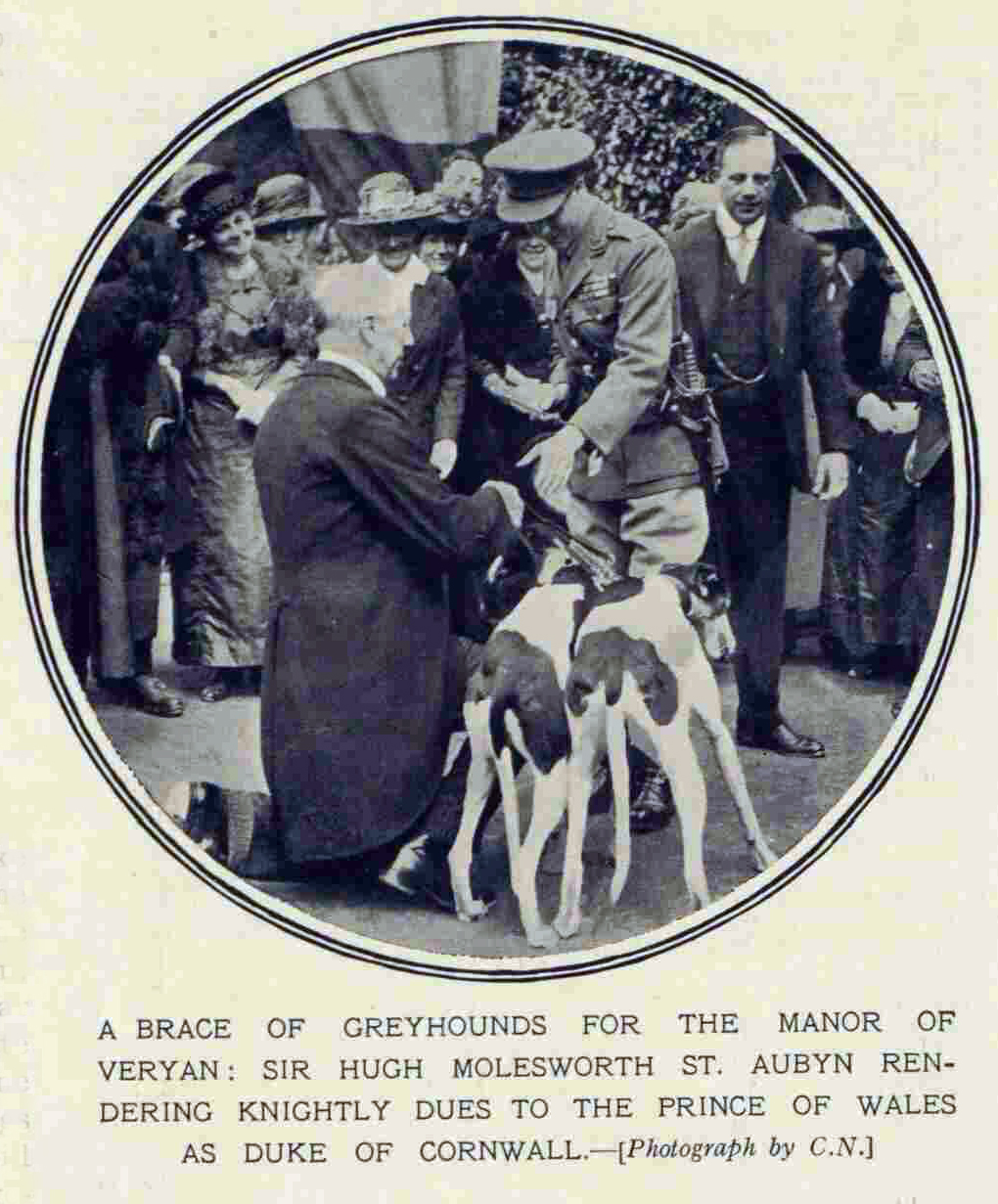 1921 visit of Prince Edward being presented with two greyhounds