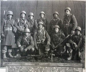 2nd squad 2nd platoon company e 115th infantry reg in 1944 at Pennygillam, Launceston.