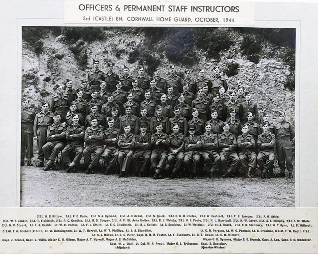 3rd Castle Battalion of the Cornwall Home Guard in October, 1944. Photo courtesy of Maggie Bruce.