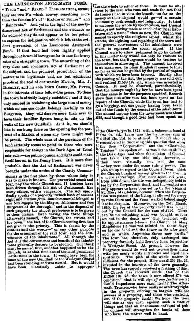 Article from the Cornish & Devon Post 02 April 1881