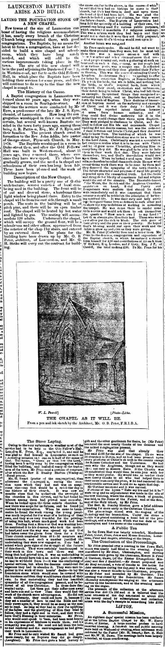 Baptist Church, Western Road article18 March 1892