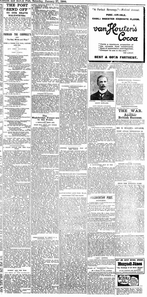 Boer War article from the January 27th 1900 edition of the Cornish and Devon Post.