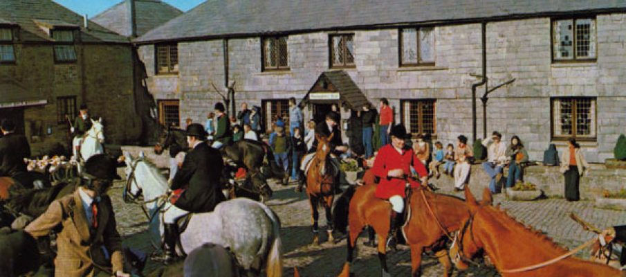 Bolventor Hunt Meet at Jamaica Inn in the 1970's.