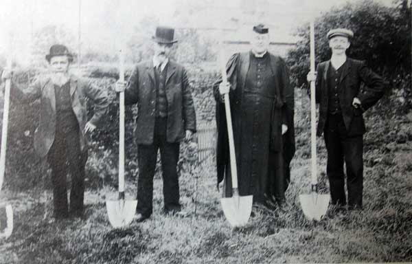 canon-ernest-drew-and-the-church-wardens-prepare-to-cut-the-turf-in-preparation-of-building-the-st