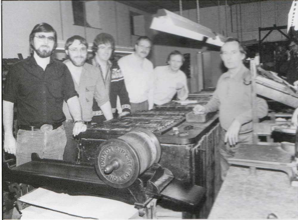 Workers in 1985 at the Cornish and Devon Printing works