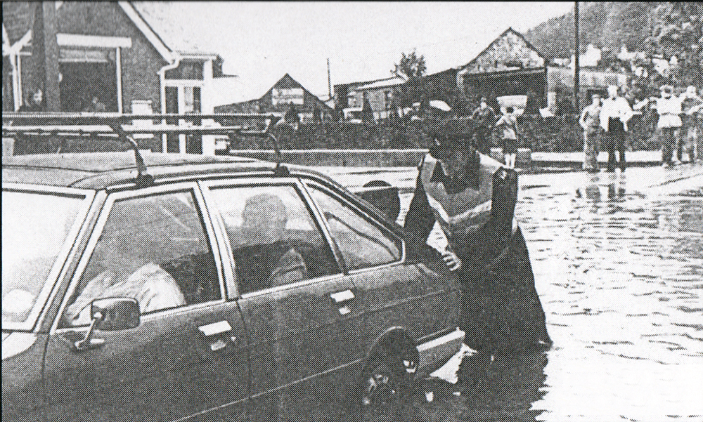 Flooding outside Greenaways, Launceston in the late 1980's