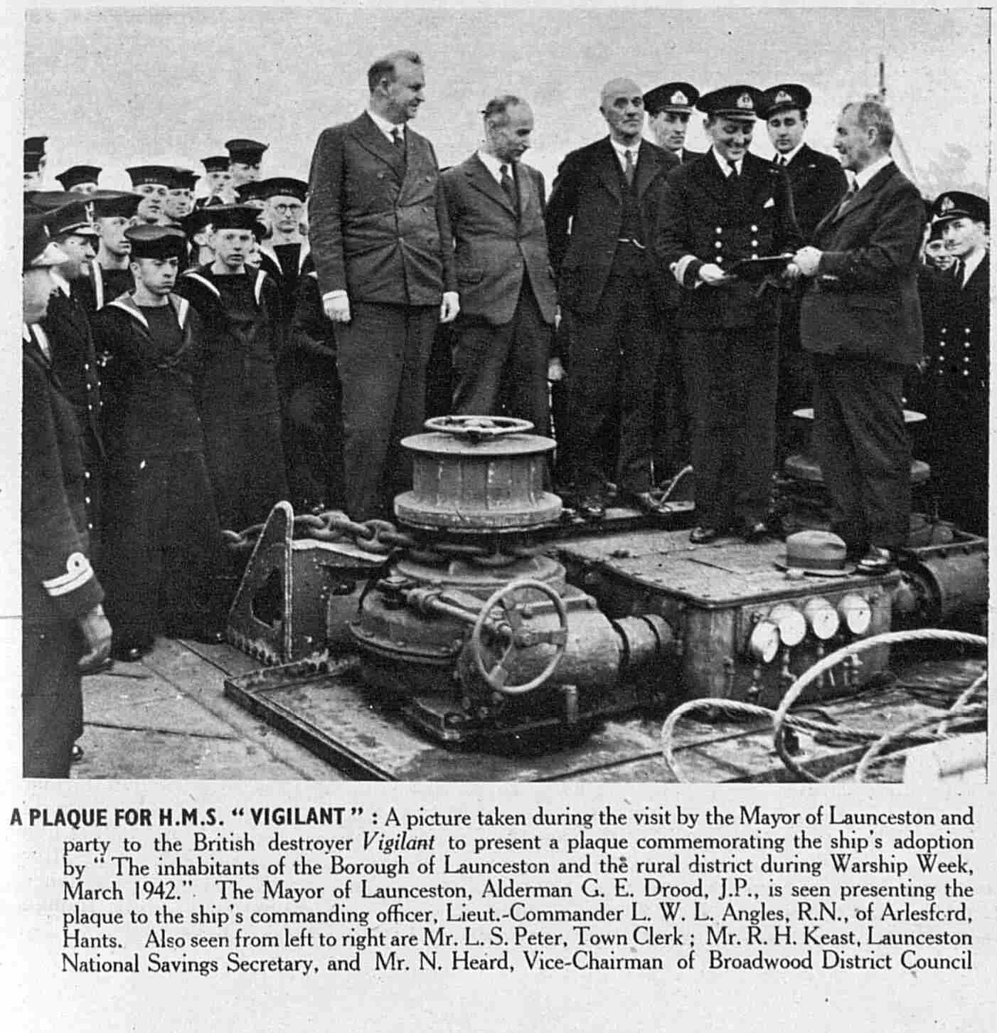 HMS Vigilant plaque ceremony January 1945
