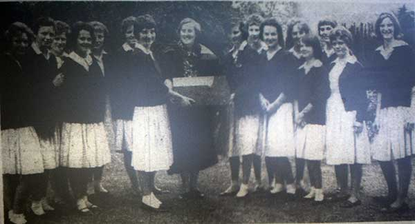 Horwell Girls Grammar School,seniors present the retiring Headmistress Muriel Grier witha farewell record player in 1962.