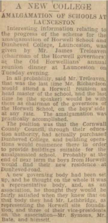 horwell-grammar-school-and-dunheved-college-amalgamation-article-from-the-western-morning-news-05-february-1931