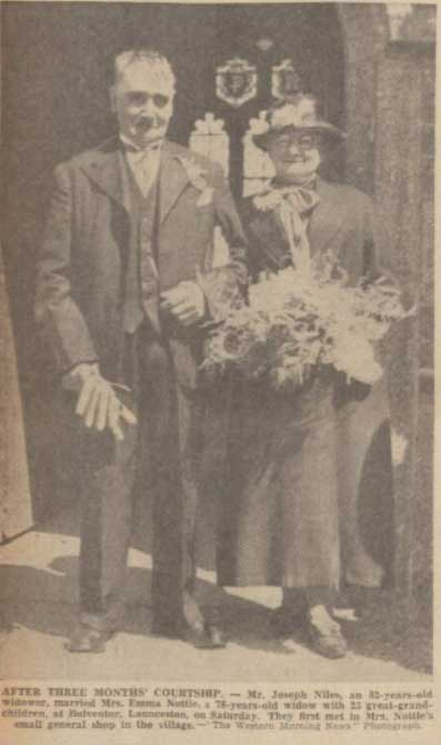 The wedding of Joseph Giles and Emma Nottle at Bolventor in 1939.
