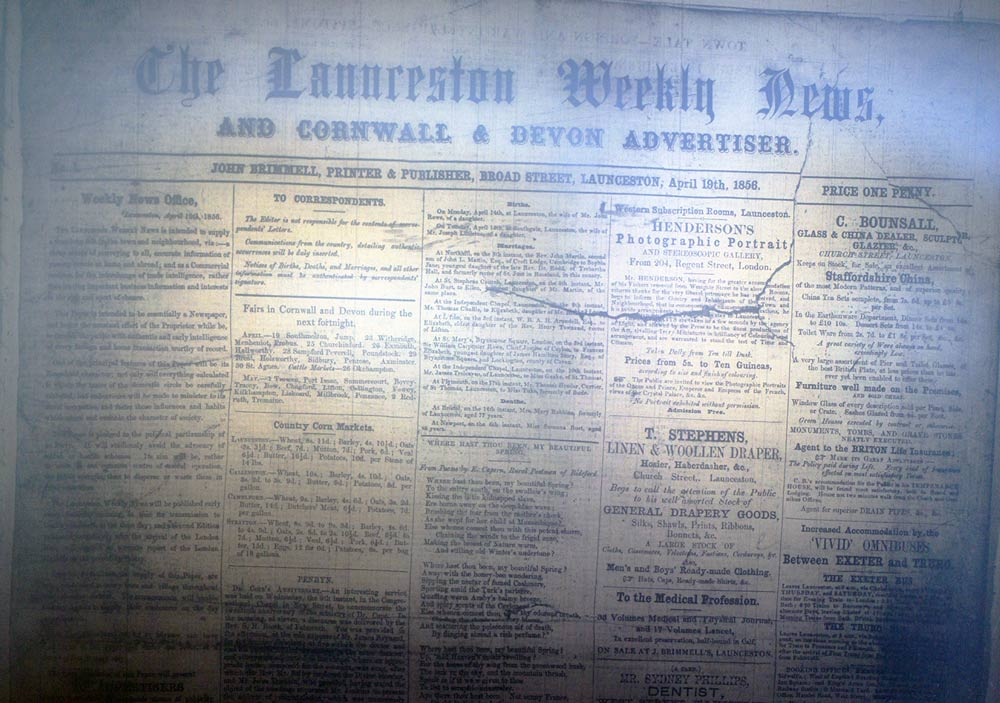 The first edition of 'The Launceston Weekly News' in 1856.