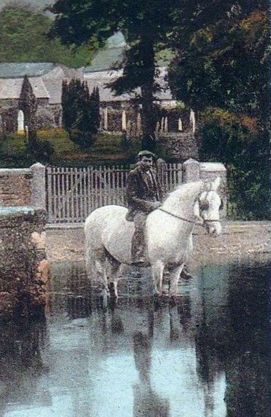 Mano on horse in the River Kensey at Launceston