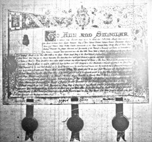 Patent of the grant for the Royal Standard.