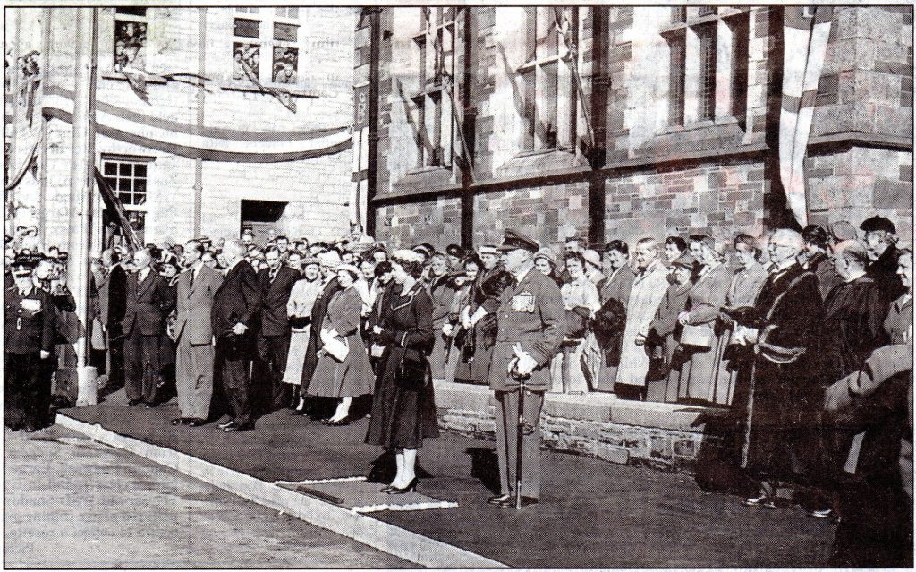 The Queen outside the Launceston town hall on her 1956 visit