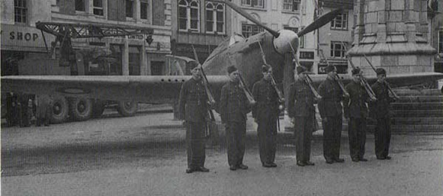 Hurricane being guarded in Launceston Town Square during the Wings for Victory, June 14th, 1943.