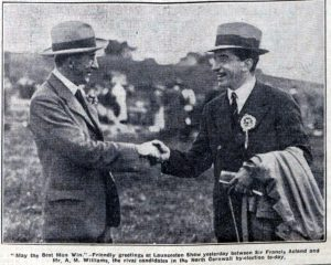 Sir Francis Acland (Liberal) shakes the hand of Mr. A. M. Williams (Conservative) as they meet at the 1932 show just before the by-election.