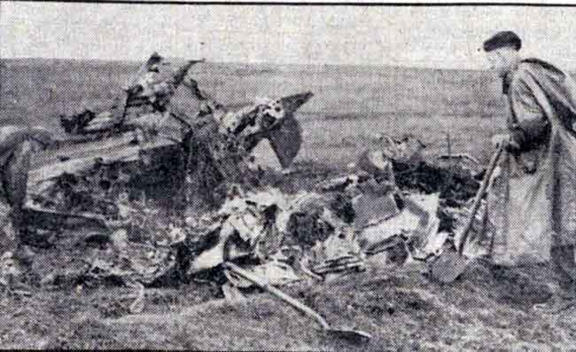 Wreakage of Halifax Bomber that crashed at Bolventor in September 1945