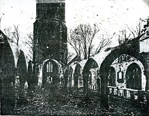 St. Martins Church after the 1890 fire.