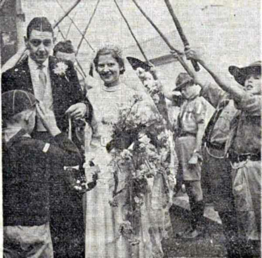 The 1939 marriage of J. C Fitze (son of Sydney Fitze) and Enid Barriball (daughter of Ernest Barriball)