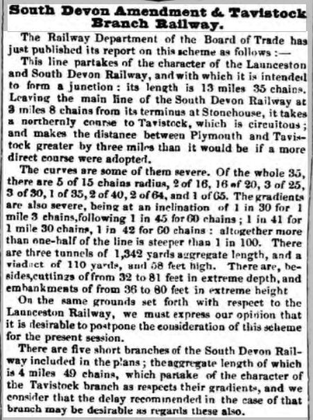 1845 opposition to a railway for Launceston.