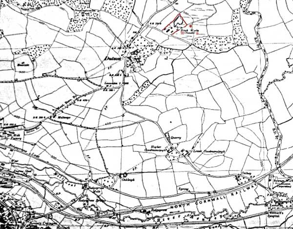 1938 map of Dutson showing the Brickworks location marked in red.