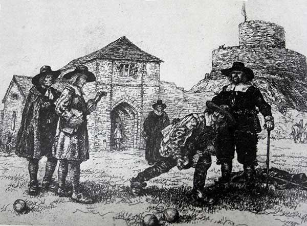A Spence engraving of George Fox reproving the Bowlers on the Castle Green for spending their time so vainly.