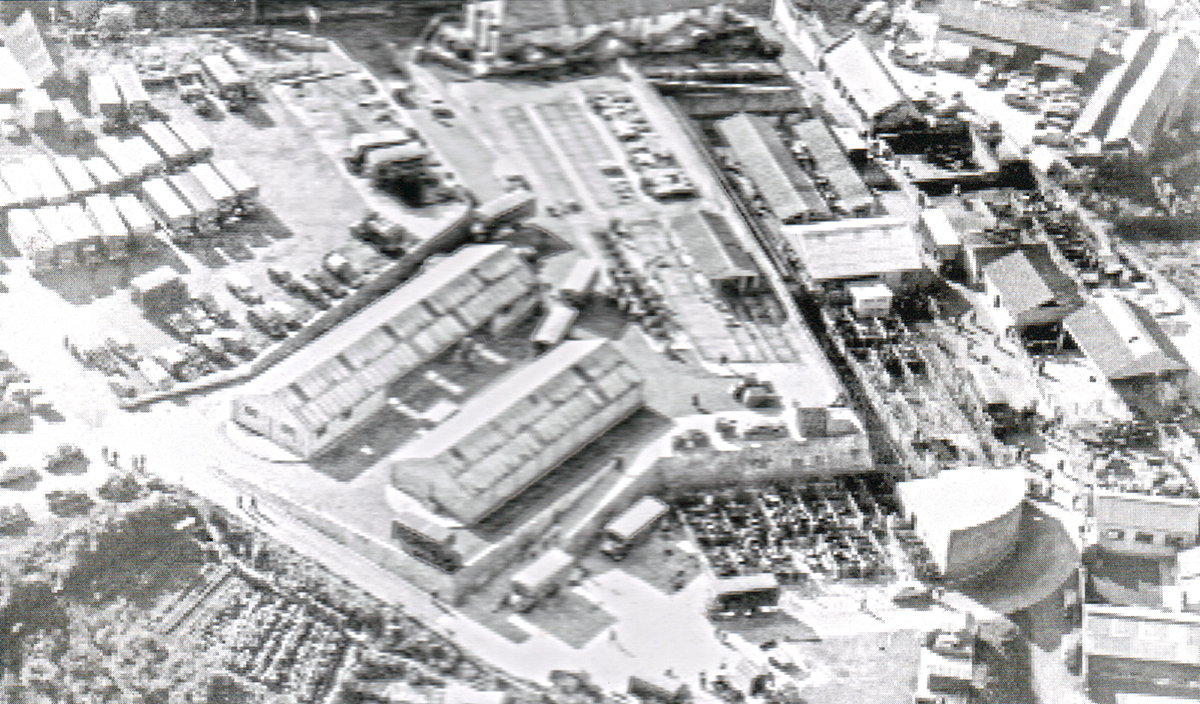 Aerial of Launceston Cattle Market c.1965.