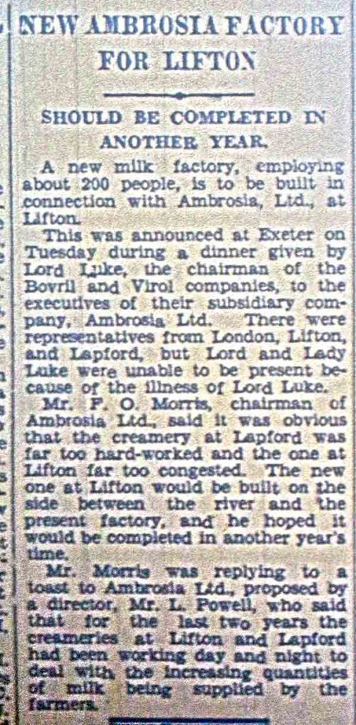 Ambrosia's new factory announcement in 1957