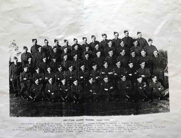 Above Boyton Homeguard. Photo courtesy of Trevor Davey. Ptes. F. Denford, H. Nance-Kivell. W. Gregory, E. Skinner, S. Dinner, C. Cowling, C. Martin, L. Denford, C. Webber, W. Dinner, E. Werren Ptes. F. Jeffery, T. Hicks, F. Gill, J. Heale, D. Allin, A. Marshall, R. Davey, S. Gill, L. Hamley, L. Hicks, A. Harris. Ptes. S. L. Connor, W. Duke, L. Bray, c. Horrell, W. Gregory, W. Sleep, D. Martin, W. Turner, T. Davies, J. Horrell, F. Dinner,, S.J. Uglow, H. Gill. L/C. T. Barber, L/C. W. Neal, L/C. K. Uglow, Sgt. C. Davey, 2/Lt. H. Stuart, Lt. W.T. Horrell, Sgt. J. Gilbert, L/C. A. Fry, Cpl. R. Horrell, L/C. J. Hicks, Ptes. J. Cole, J. Strout, F. Neale, A. Lane, J. Neale, R. Finnemore, T. Wills, c. Davey, J. Heal.