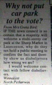 Letter to the Cornish and Devon Post from Greta Bird in February 1992.