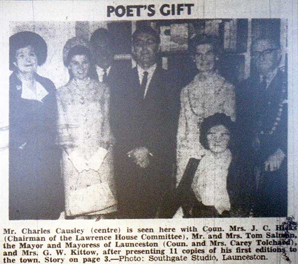 Charles gifts Launceston library a first edition of his poetry in 1968.