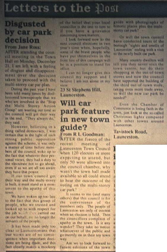 Cornish and Devon Post letters column from December 31st 1992.