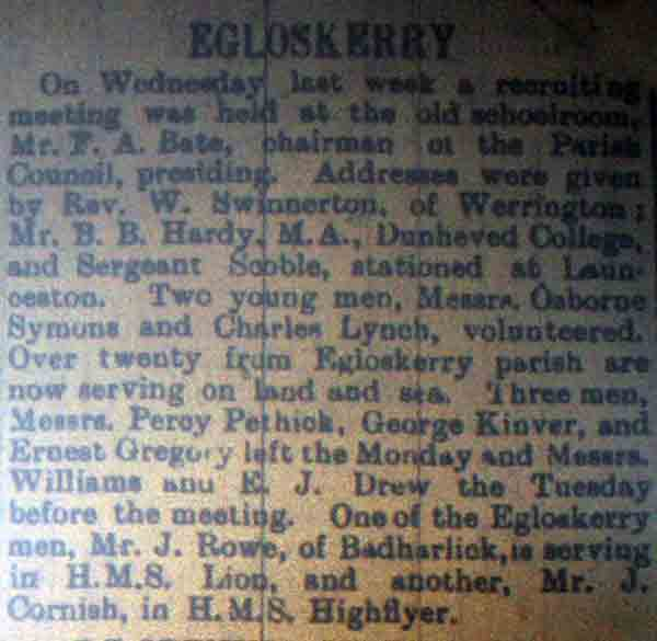 Recruitment from Egloskerry article in 1914.