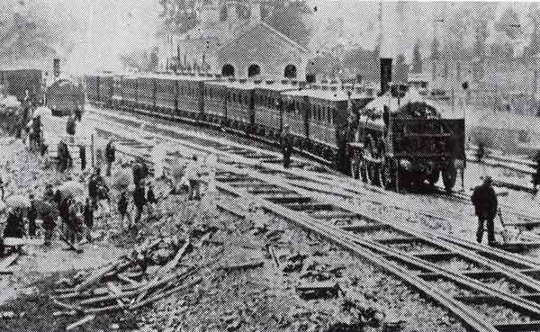 South Devon Railway 'Hawk' class locomotive at Launceston in 1865.