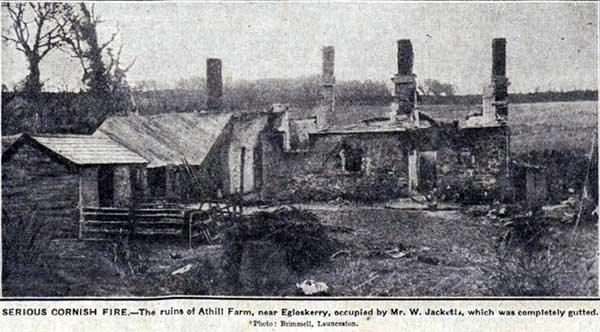 Athill Farm fire in February 1929.