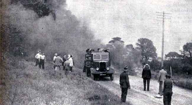 fire-on-the-launceston-lifton-road-in-august-1939-when-a-tar-sprayer-containing-350-gallons-of-tar-caught-fire-which-spread-to-the-freshly-laid-tar-on-the-road