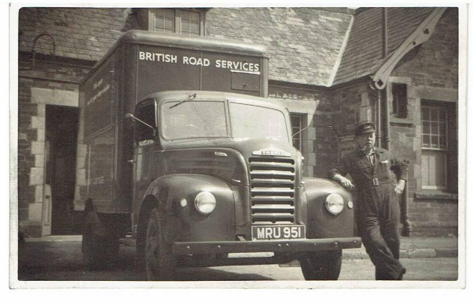 Jumbo Jordan with his lorry outside Launceston Railway Station.