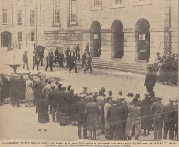Mr. Justice Roche in procession to Bodmin assizes and to the trial of Annie Hearn on the 15th of June 1931. Photo by the Western Morning News.