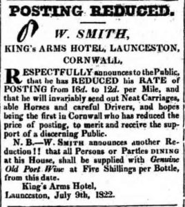 King Arms advert from 1822.