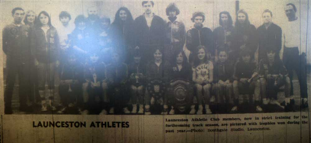 Launceston Athletic Club in November 1977. Owen Slater, far left, was a leading light for many years in helping the club.
