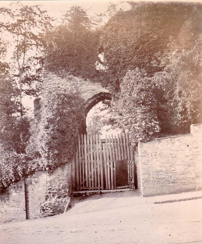 Launceston Castle western entrance in 1894 by the watercolourist A.R.Q. Quinton.