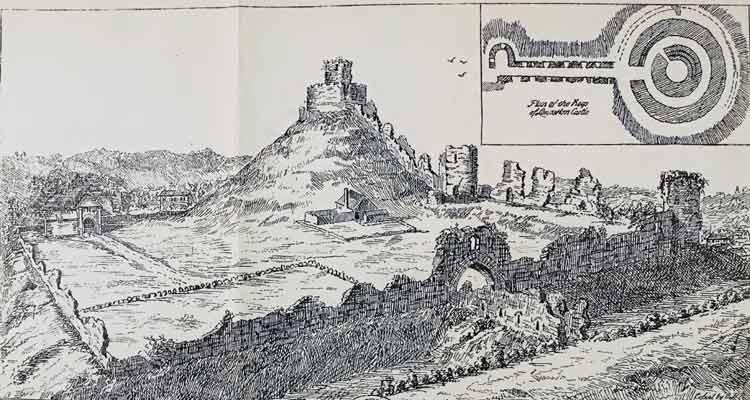 launceston-castle-drawing-by-borlaise-in-1754