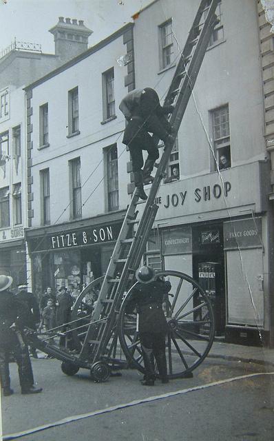 Launceston Fire Brigade Drill in the Town Centre in 1942.