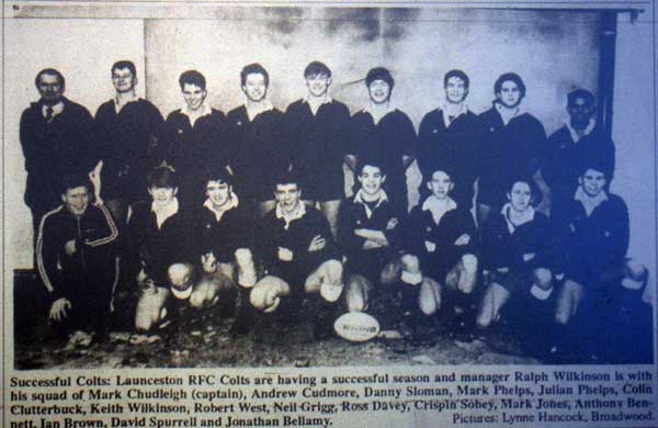 Launceston Rugby Colts in 1992.