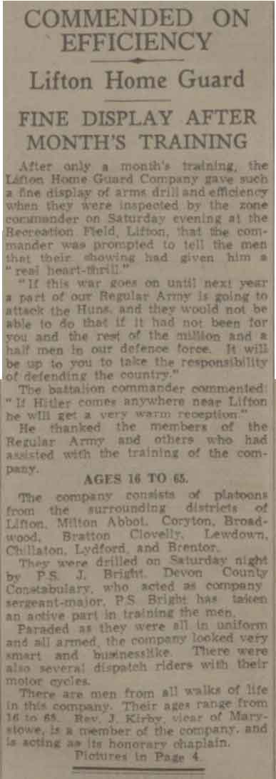 Article on Lifton Homeguard from the 5th of August 1940.