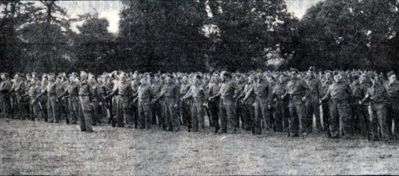 Lifton Homeguard on parade on the 5th of August 1940 at Lifton recreation ground being inspected by Lieut. Colonel L. Bastard.