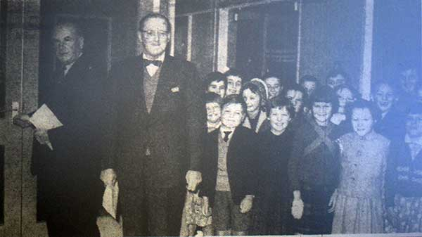 Lifton school opening in 1961 by Mr. J. Day with Mr. B. Lampard-Vachell in attendence