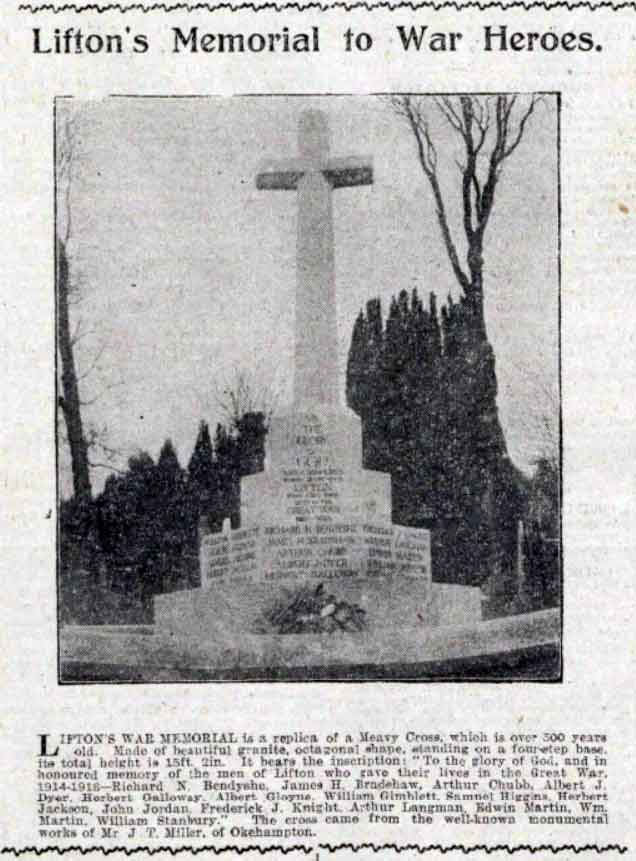 lifton-war-memorial-unveiling-western-times-13-february-1920