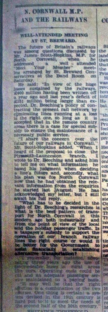 North Cornwall MP's opinion on the railway February 1962.